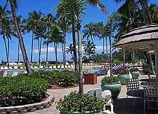 View of outdoor seating at Hawaii Big Island coastal hotel