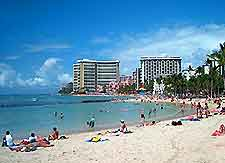 View of Oahu's famous Waikiki Beach