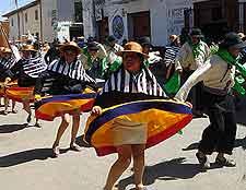 Picture of costumed Peruvian dancers