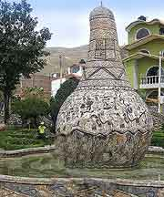 Picture of stone artwork within the Parque de la Identidad Huanca