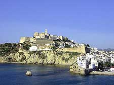 Picture showing view of Old Town Ibiza