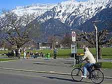 Picture of cycling and snow-topped mountains