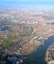 Aerial view of the townscape and estuary