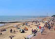 View of the sandy beachfront at Clacton on Sea