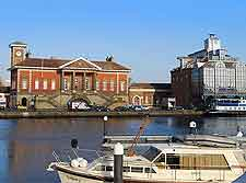 Waterfront scene depicting the Old Customs House