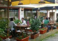 Summer photo of cafe tables