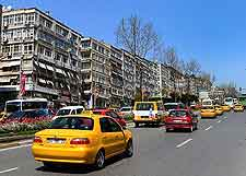 Photo of local Turkish yellow taxi cabs