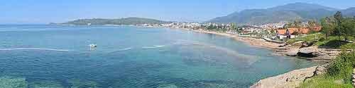 Panoramic beachfront photograph
