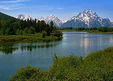 Picture of the Snake River and distant mountains