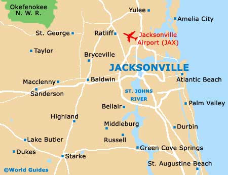 Map Of Jacksonville Airport JAX Orientation And Maps For JAX - Jacksonville map