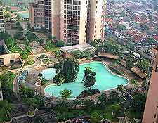 View of hotel pool in the city centre
