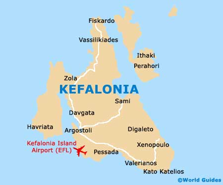 Map Of Kefalonia Cephalonia Airport Efl Orientation And Maps