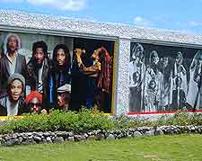 Photograph of murals at the Bob Marley Museum