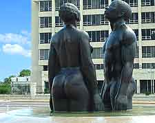 Close-up picture of Emancipation Park's Redemption Song sculpture of slaves