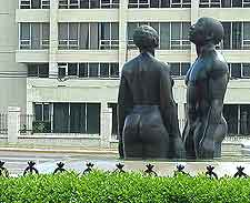 Photo of Redemption Song sculpture at Emancipation Park