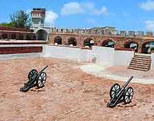 Further image of Fort Charles, showing historic cannons