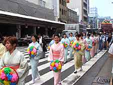 Picture showing procession of Geisha girls in the Gion district