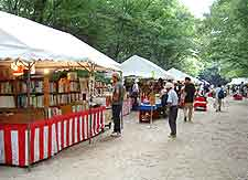View of book market held at the Shimogamo-jinja Shrine