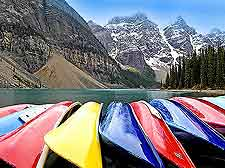Photo of kayaks on Lake Moraine