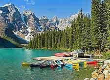 View of kayaks on Lake Moraine