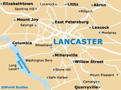 Lancaster Maps And Orientation Lancaster Pennsylvania PA USA - Pennsylvania in usa map