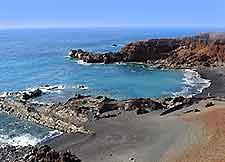 Black sands of the coastline of Lanzarote