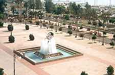 Image of local plaza and fountains