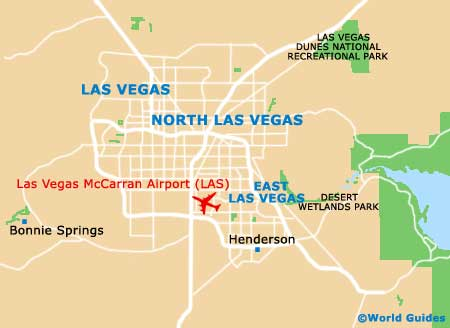 Map Of Las Vegas McCarran Airport LAS Orientation And Maps For - Las vegas in usa map