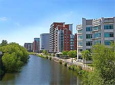 Picture showing the River Aire and waterfront apartments, taken by Tim Green