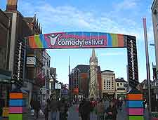 View of Comedy Festival banner