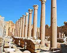 Photo of temple remains at the Leptis Magna Historic Site