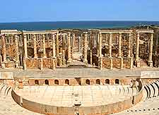 Image of well-preserved remains at the Leptis Magna Historic Site