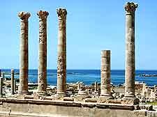 Photo showing coastal ruins at Sabratha, in north-western Libya