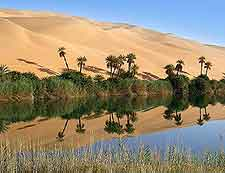 Ubari lakes picture, an oasis in the Sahara Desert