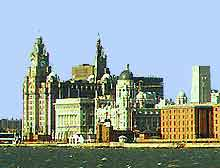 Skyline view showing the River Mersey