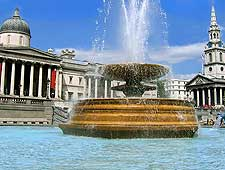Photo showing fountains in Trafalgar Square, London, England, UK
