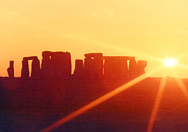 View of Stonehenge at sunrise