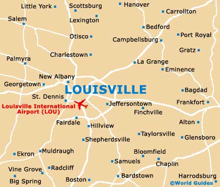 Map Of Louisville Airport SDF Orientation And Maps For SDF - Us map of kentucky