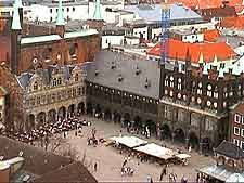Aerial view of market in the Town Hall square