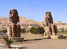 View of the iconic Colossi of Memnon