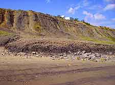 Photo showing the undercliff and fossil beach at Lyme Regis, Dorset, England, UK