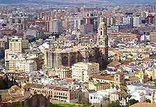 Aerial city centre view of Malaga
