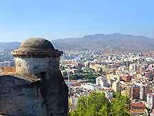 Scenery of Malaga seen from the Castillo de Gibralfaro