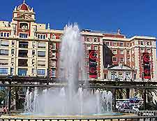 Snapshot of the fountain in Malaga's port