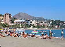 Picture of a Malaga beach with a backdrop of the Sierra Nevada Mountains