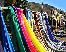 Photo of colourful fabrics at local Chengale market