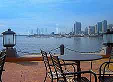 Waterfront image of tables and chairs
