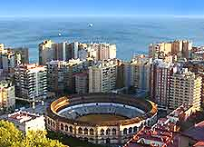 View over Malaga featuring La Malagueta Bullring