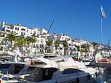 Yachts pictured in of Marbella's harbour