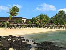 Beach photo taken at the resort town of Grand Gaube